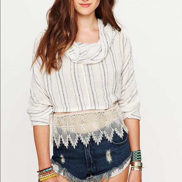 75% off Free People Tops - Free People Cropped Cowl Neck Sweater ...